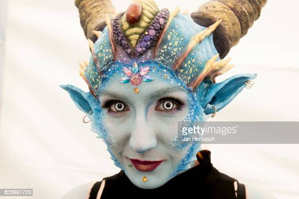 A model poses for a picture during the 20th World Bodypainting Festival 2017 on July 28 2017 in Klagenfurt Austria