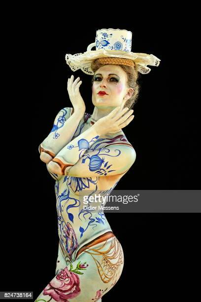 A model poses for a picture during the 20th World Bodypainting Festival 2017 on July 30 2017 in Klagenfurt Austria