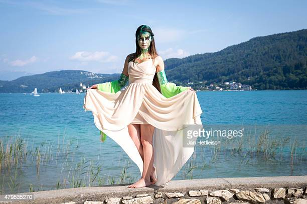A model poses for a picture during the World Bodypainting Festival 2015 on July 4 2015 in Poertschach am Woerthersee Austria