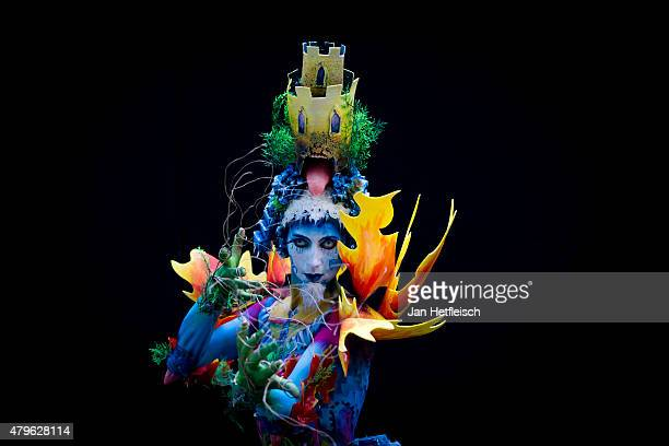 A model poses for a picture during the World Bodypainting Festival 2015 on July 5 2015 in Poertschach am Woerthersee Austria