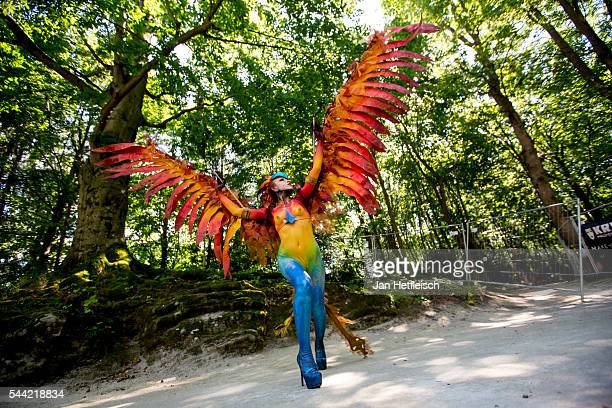 Image contains nudity A model poses for a picture during the World Bodypainting Festival 2016 on July 1 2016 in Poertschach am Woerthersee Austria