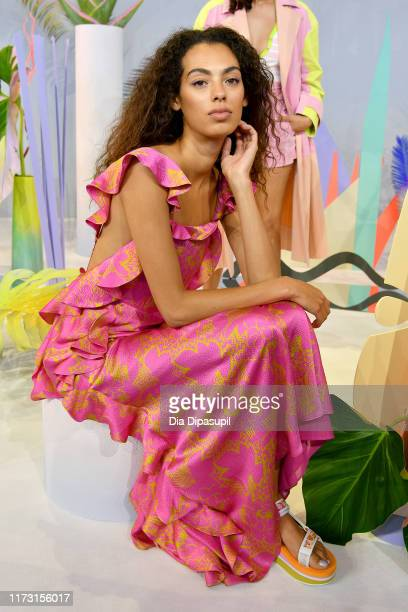 A model poses for a Tanya Taylor presentation during New York Fashion Week The Shows at Gallery II at Spring Studios on September 08 2019 in New York...