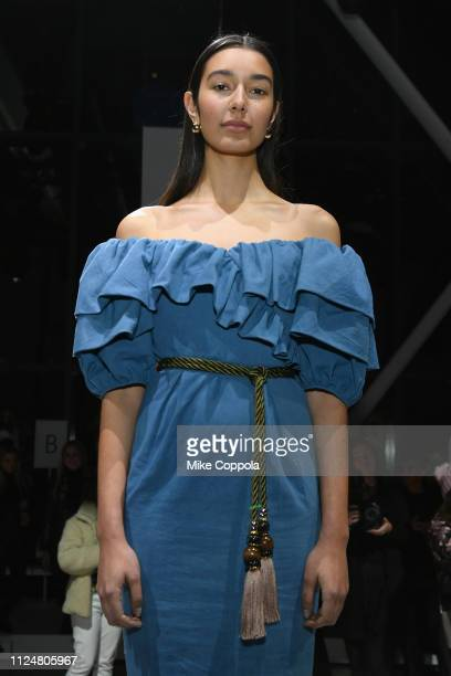 A model poses for Mara Hoffman at the Fashion For Peace Fashion Presentation during New York Fashion Week The Shows at Gallery I at Spring Studios on...
