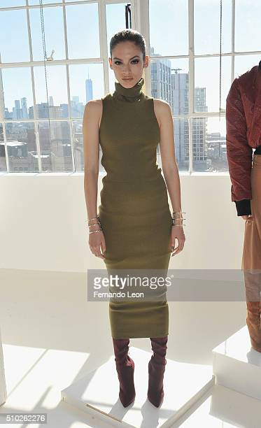 A model poses for pictures at the Laquan Smith Presentation at Jack Studios during Fall 2016 New York Fashion Week on February 14 2016 in New York...