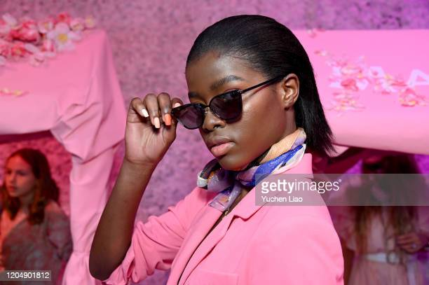 Model poses for Rebecca Minkoff presentation during NYFW: The Shows at Spring Studios on February 08, 2020 in New York City.