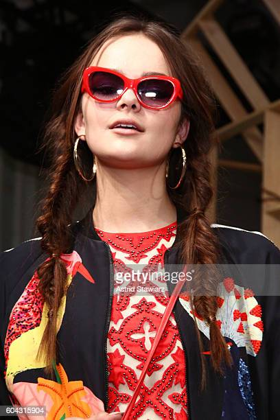 A model poses for the Alice Olivia by Stacey Bendet Spring/Summer 2017 Presentation during New York Fashion Week September 2016 at The Gallery...