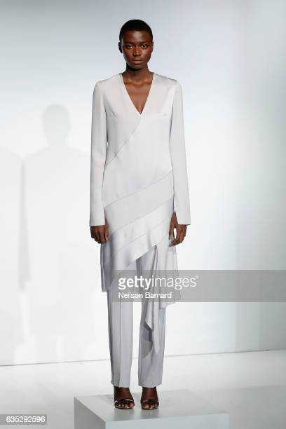 A model poses for the ICB collection presentation during New York Fashion Week The Shows at Gallery 3 Skylight Clarkson Sq on February 14 2017 in New...