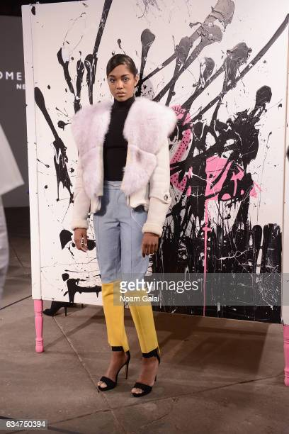 A model poses for the Romeo Hunte collection presentation during New York Fashion Week The Shows on February 11 2017 in New York City