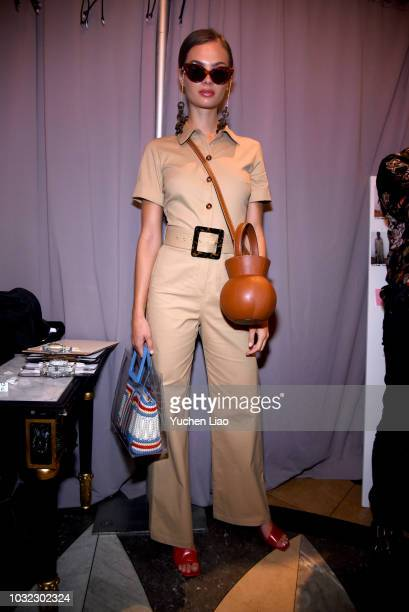 A model poses for the Staud Presentation during New York Fashion Week The Shows at Laudree on September 12 2018 in New York City