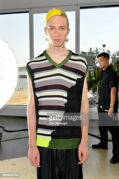 A model poses for the Taakk presentation during July 2018 New York City Men's Fashion Week at Creative Drive on July 9 2018 in New York City