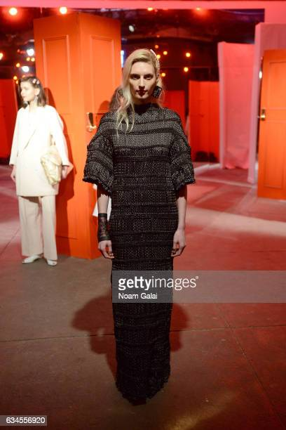 A model poses for the Theater Products presentation during New York Fashion Week The Shows at 40 Bethune Street on February 10 2017 in New York City