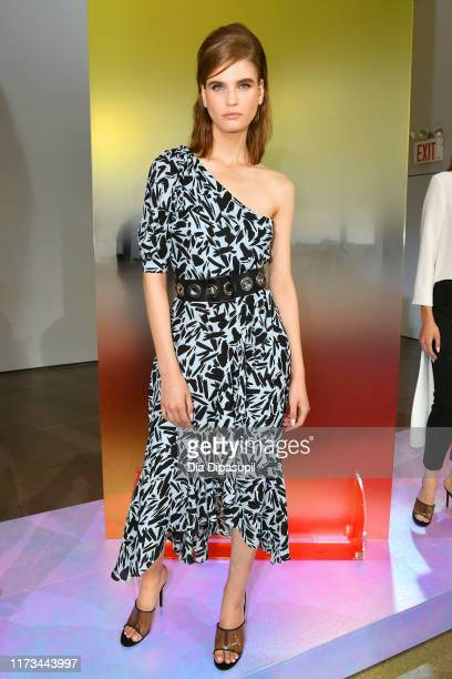 Model poses for the Veronica Beard Presentation during New York Fashion Week: The Shows at Gallery II at Spring Studios on September 09, 2019 in New...