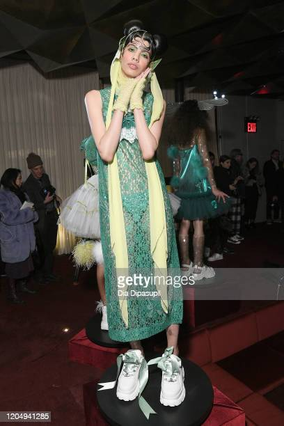 A model poses for Wiederhoeft Fall / Winter 2020 New York Fashion Week Presentation The Music Box at Sunken Living Room at Spring Studios on February...