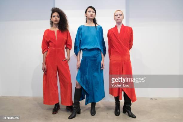 Model poses for Zero Maria Cornejo Presentation February 2018 New York Fashion Week on February 12 2018 in New York City
