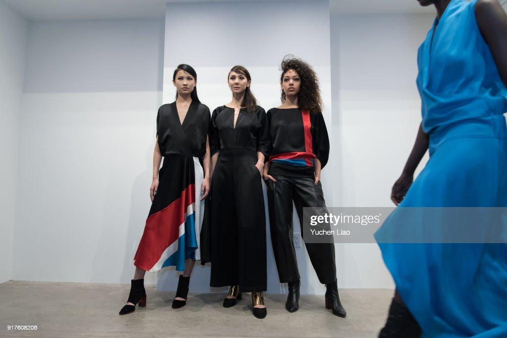 Model poses for Zero + Maria Cornejo - Presentation - February 2018 - New York Fashion Week on February 12, 2018 in New York City.
