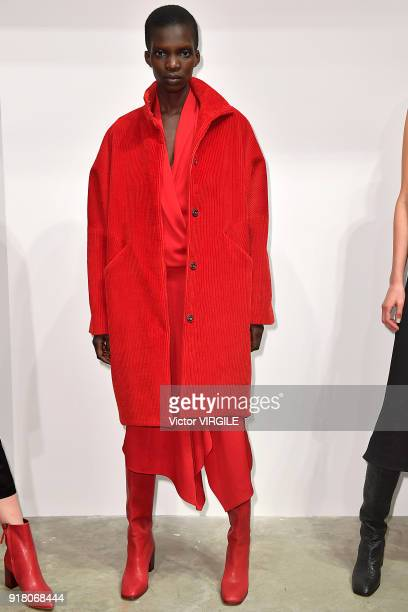 A model poses for Zero Maria Cornejo Ready to Wear Fall/Winter 20182019 Presentation during New York Fashion Week on February 12 2018 in New York City