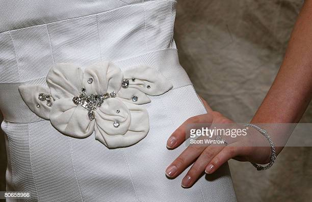 A model poses in a Lela Rose wedding dress during a presentation at the Warwick Hotel on April 13 2008 in New York City
