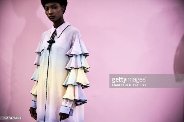 A model poses in first looks backstage prior to the presentation of Marco De Vincenzo fashion house during the Women's Spring/Summer 2019 fashion...