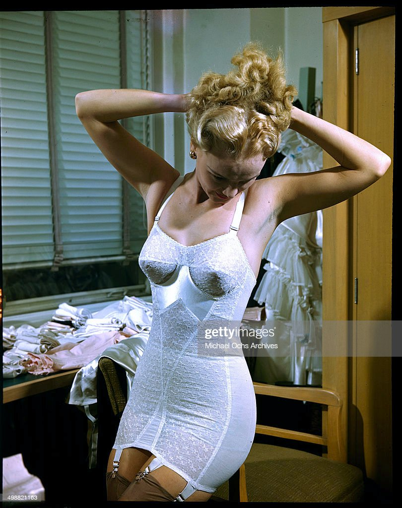 A model poses in lingerie fashion in New York in September 27,1949.