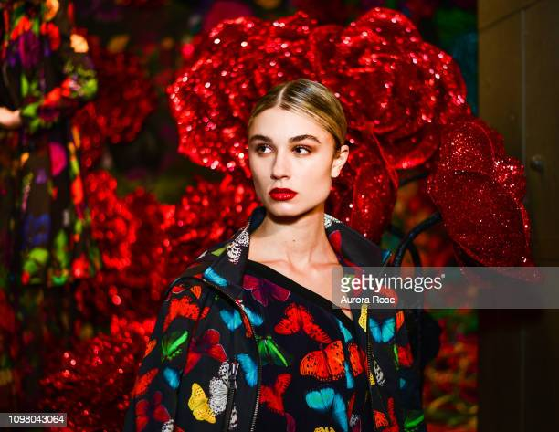 Model poses in the Alice Olivia by Stacey Bendet FW19 Collection Presentation at The Angel Orensanz Foundation on February 11 2019 in New York City