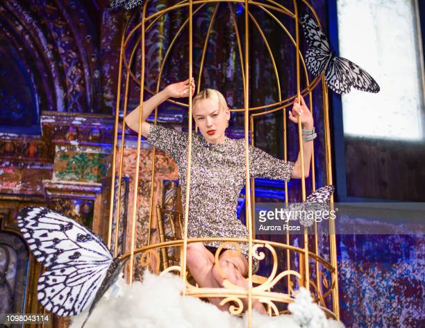 Model poses in the Alice Olivia by Stacey Bendet FW19 Collection Presentation at at The Angel Orensanz Foundation on February 11 2019 in New York City