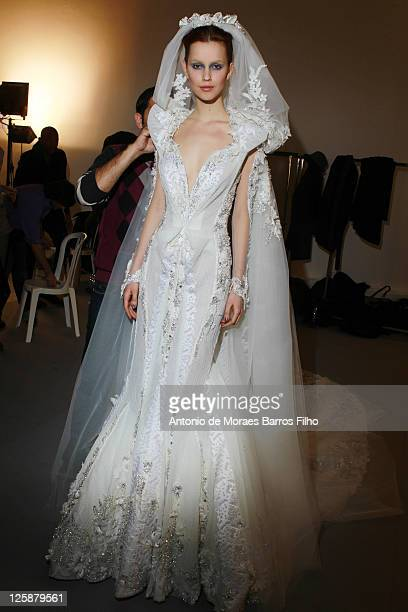 Model poses in the backstage before the Basil Soda show as part of the Paris Haute Couture Fashion Week Spring/Summer 2011 at Palais De Tokyo on...