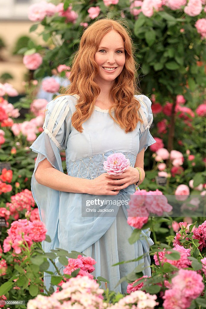 A model poses in the David Austen Rose garden at the Press & VIP preview at The Chelsea Flower Show at Royal Hospital Chelsea on May 24, 2010 in London, England.