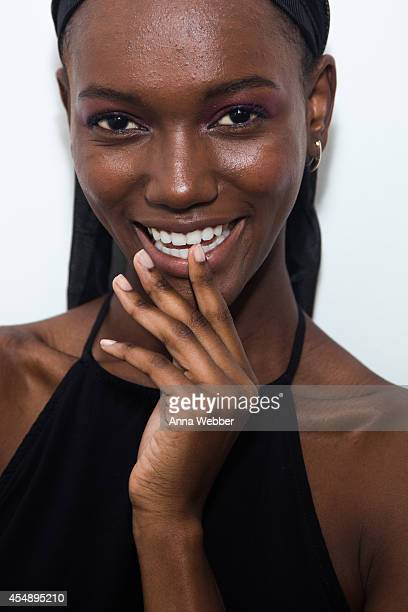 A model poses JINsoon manicure during JINsoon at Derek Lam Spring/Summer 2015 Collection at Sean Kelly Gallery on September 7 2014 in New York City