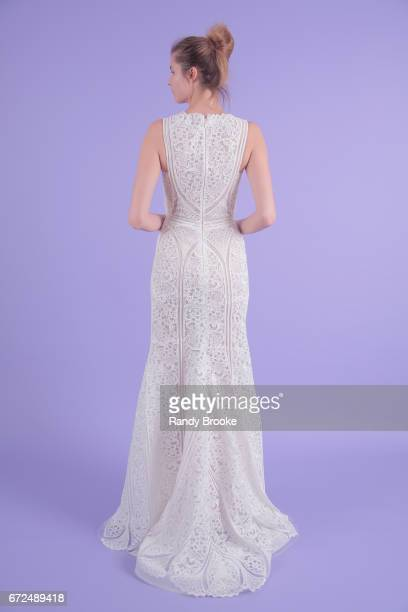 A model poses on seamless paper at the Isabelle Armstrong Spring 2018 bridal presentation during New York Fashion Week Bridal April 2017 at The...