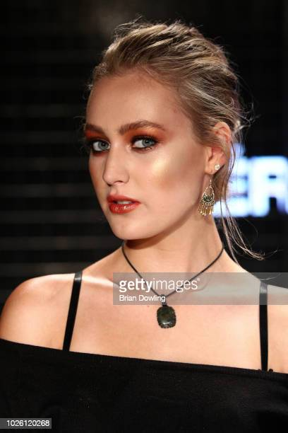 A model poses on stage at the 'MAC Cosmetics on Contemporary Beauty' panel talk during the BreadButter by Zalando at Arena Berlin on September 2 2018...