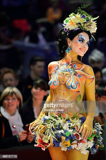 A model poses on the catwalk after the contest 'Body Painting' of the OMC Hairworld World Cup on May 4 2014 in Frankfurt am Main Germany The OMC...