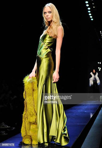 A model poses on the catwalk at the Salvatore Ferragamo's Fall/Winter 2008/2009 women's collection in Milan Italy on Tuesday Feb 19 2008 Ferragamo...