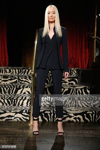 A model poses on the runway at the Brandon Maxwell A/W 2016 fashion show during New York Fashion Week at The Monkey Bar on February 16 2016 in New...