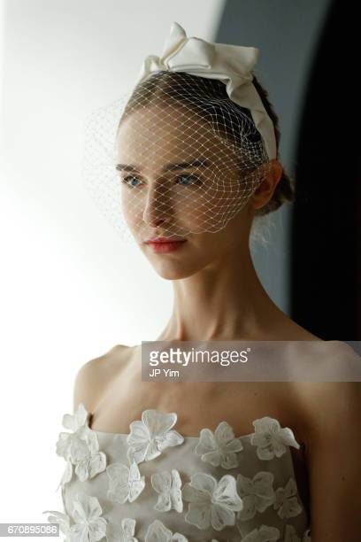 A model poses on the runway at the Lela Rose Spring 2018 bridal show at La Sirena on April 20 2017 in New York City