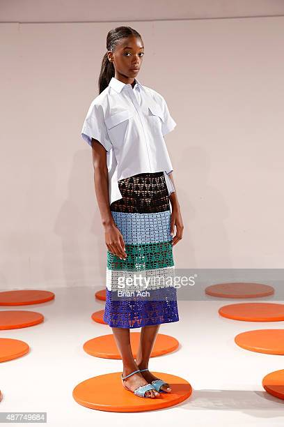 Model poses on the runway at the Novis presentation during Spring 2016 New York Fashion Week: The Shows at The Space, Skylight at Clarkson Sq on...