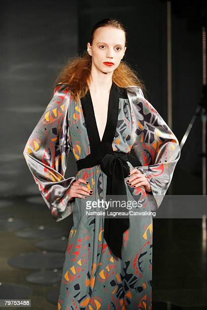 A model poses on the runway at the Ossie Clarke show as part of London Fashion Week at the BFC Tent on February 12 2008 in London England