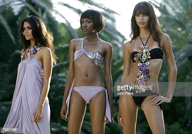 """Model poses on the runway at the Rosa Cha swimwear fashion show during """"Mercedes Benz Fashion Week: Miami Swim"""" at the Raleigh Hotel on July 11, 2007..."""