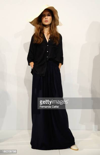 A model poses on the runway at the Steven Alan presentation during MercedesBenz Fashion Week Spring 2014 at The Box at Lincoln Center on September 10...