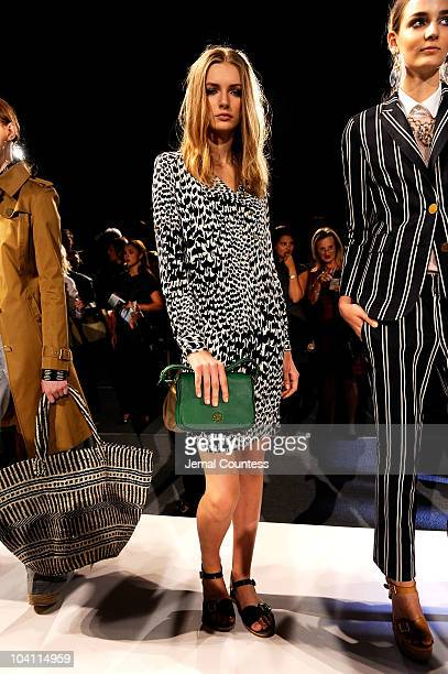 A model poses on the runway at the Tory Burch Spring 2011 presentation during MercedesBenz Fashion Week at The Studio at Lincoln Center on September...