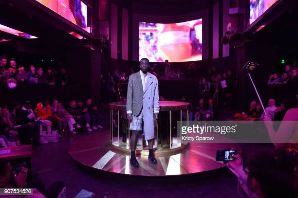 A model poses on the runway during the Andrea Crews Menswear Fall/Winter 20182019 show as part of Paris Fashion Week on January 20 2018 in Paris...