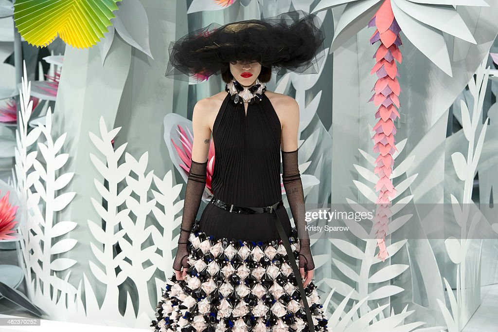 A model poses on the runway during the Chanel show as part of Paris Fashion Week Haute Couture Spring/Summer 2015 at the Grand Palais on January 27, 2015 in Paris, France.