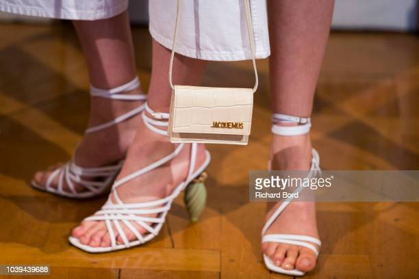 Model poses on the runway during the Jacquemus show at the Italy embassy as part of the Paris Fashion Week Womenswear Spring/Summer 2019 on September...