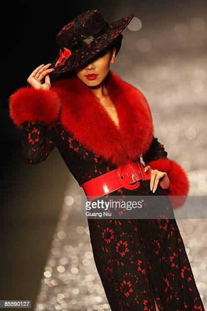 Model poses on the runway during the JudyGalaxy Fashion Collection at the China Fashion Week Autumn/Winter Collection 2009 on March 25 2009 in...