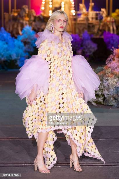 Model poses on the runway during the Romance Was Born show during Afterpay Australian Fashion Week 2021 Resort '22 Collections at Carriageworks on...