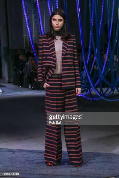 A model poses on the runway for designer By Malene Birger during the Copenhagen Fashion Week Autumn/Winter 17 on February 2 2017 in Copenhagen Denmark