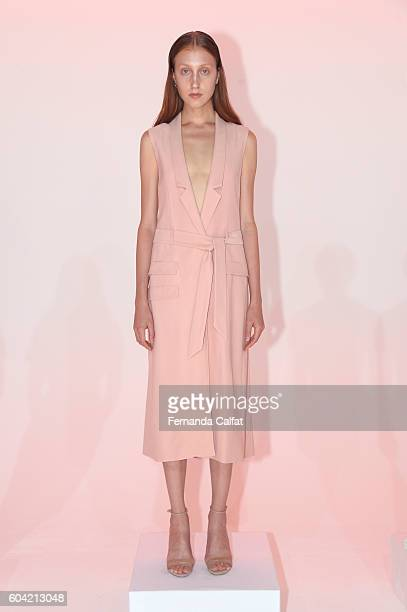 A model poses on the runway for the Julianna Bass presentation during New York Fashion Week September 2016 at Spring Studios on September 13 2016 in...