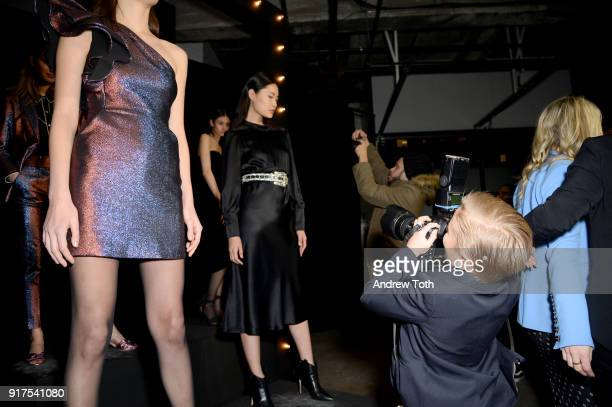 A model poses on the runway for the Veronica Beard Fall 2018 presentation at Highline Stages on February 12 2018 in New York City