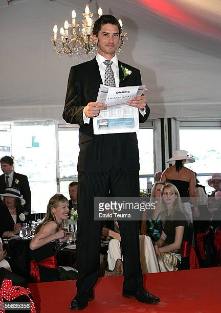 Model poses on the runway wearing a Dom Bagnato design during the Melbourne Cup Carnival Preview at Flemington October 1, 2005 in Melbourne,...