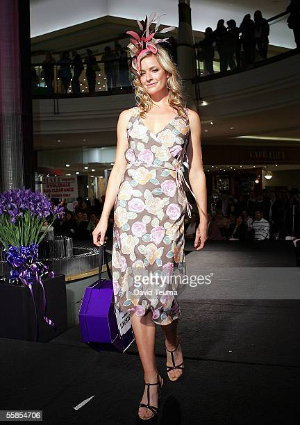 A model poses on the runway wearing a Laura Ashley design during the Chadstone Fashion Stakes for the Carlton Draught Caulfield Cup Carnival Heat 1...