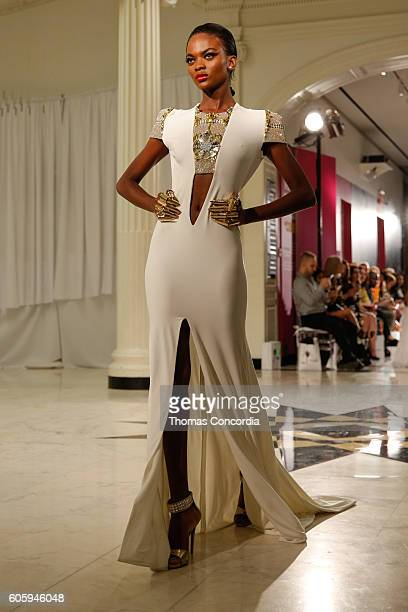 A model poses on the runway wearing Marc Bouwer Spring 2017 during New York Fashion Week on September 15 2016 in New York City